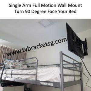 single arm full motion tv bracket at bedroom