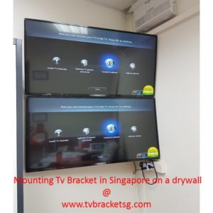 Mounting Tv Bracket in Singapore on a drywall_